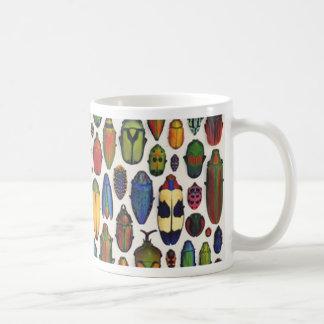 Färgrik vintage illustrerade skalbaggar kaffemugg