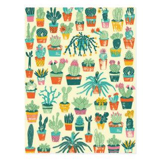Färgrik vykort för kaktusblommamönster