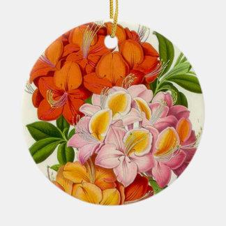 Färgrika Azaleas i rosor, orange och guld Julgransprydnad Keramik
