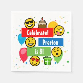 Färgrika beställnings- Emoji födelsedagsfestungar Pappersservett
