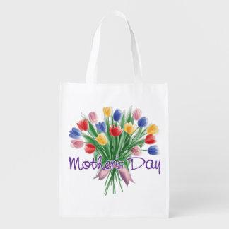 Färgrika blommor för mors dag återanvändbar påse