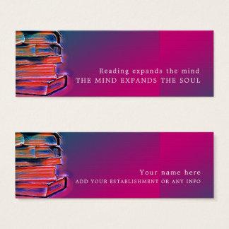 Färgrika bokar, bokmärke litet visitkort