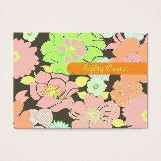 Färgrika businesscards för Retro tropiska blommor Visitkort