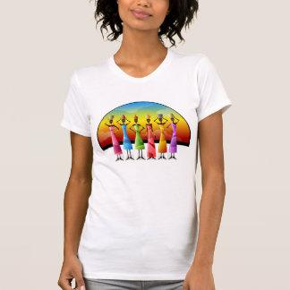 Färgrika eleganta afrikanska daminnehavkrukar tshirts