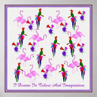 Färgrika fåglar och rosa Flamingos Poster
