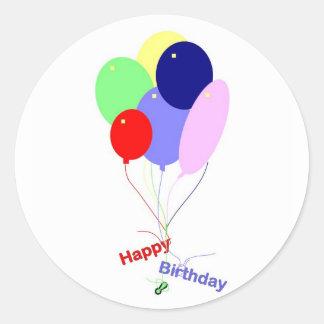 Färgrika grattis på födelsedagenballonger runt klistermärke
