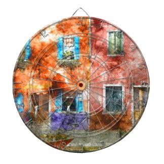 Färgrika hem i den Burano italien nära Venedig Darttavla