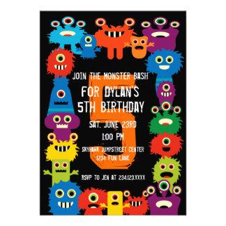 Färgrika inbjudningar för monsterbarns födelsedagp
