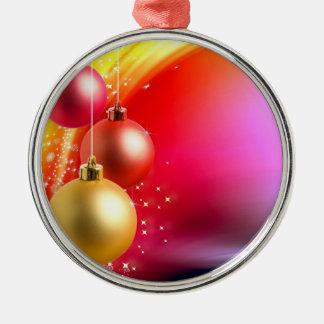 Färgrika julbollar rund silverfärgad julgransprydnad