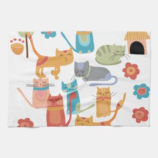 Färgrika kattungetryckgåvor för kattälskare kökshandduk