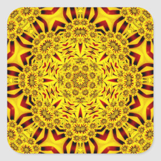 Färgrika klistermärkear för ringblommar fyrkantigt klistermärke