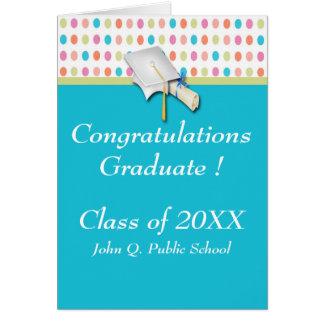 Färgrika kort för polka dotsstudentenhälsning
