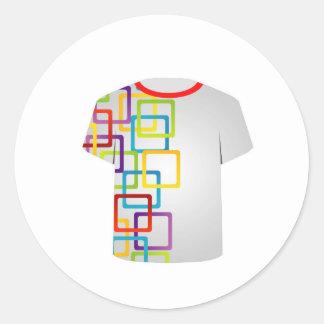 Färgrika kvarter för T-skjortamall Runt Klistermärke