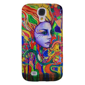 Färgrika kvinna ansiktegrafitti i Vinnitsa Ukraina Galaxy S4 Fodral