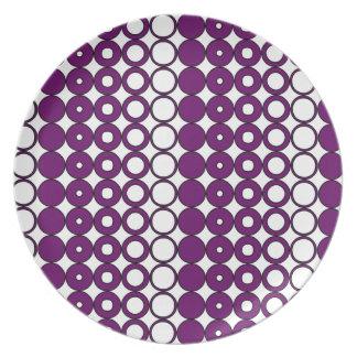 Färgrika lilor cirklar mönster tallrik