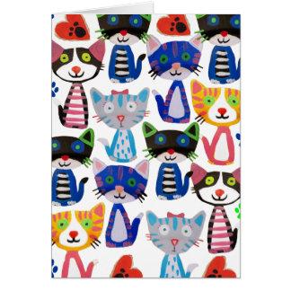 färgrika lyckliga katter hälsningskort