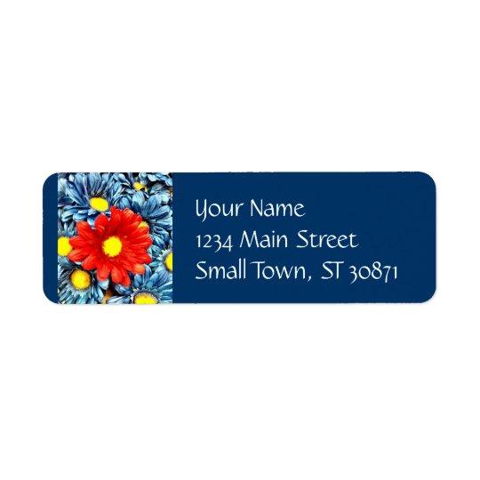 Färgrika orange röda blommor för blåttGerber daisy Returadress Etikett