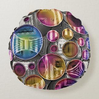 Färgrika Orbs - abstrakt konst Rund Kudde