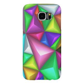 färgrika Polygonal Samsung S6 för bakgrund 3D Samsung Galaxy S6 Fodral