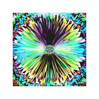 Färgrika psychedelic skissar av en blomma 3 canvastryck