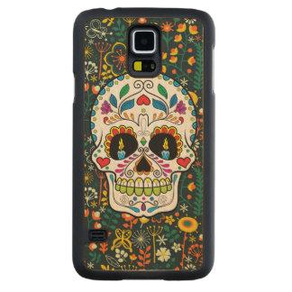 Färgrika Retro blom- stearinljus för Carved Lönn Galaxy S5 Skal