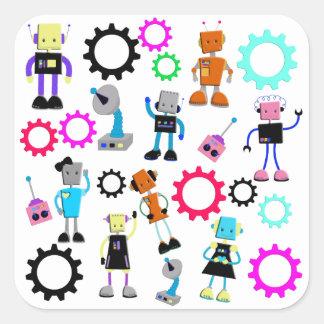Färgrika Retro robotar Fyrkantigt Klistermärke