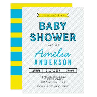 Färgrika roliga blått och gul modern baby shower 12,7 x 17,8 cm inbjudningskort