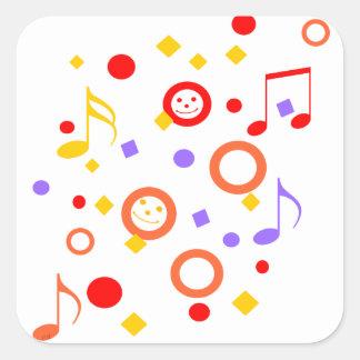 Färgrika Smileys och musik noter Fyrkantigt Klistermärke