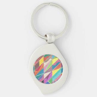 Färgrika snitt och fasetterar metall Keychain Swirl Silverfärgad Nyckelring