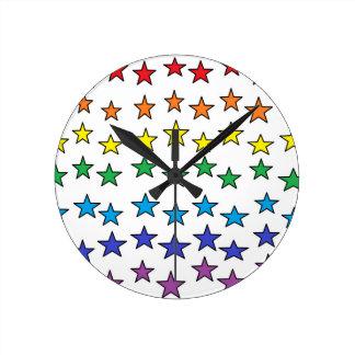 Färgrika stjärnor tar tid på rund klocka