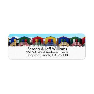 Färgrika strandhuskojor returadress etikett