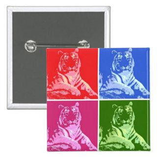 Färgrika tigrar standard kanpp fyrkantig 5.1 cm