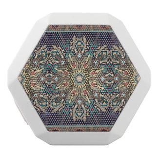 Färgrikt abstrakt etniskt blom- mandalamönster vit bluetooth högtalare
