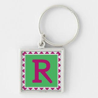 """Färgrikt brev """"R"""" - Keychain Fyrkantig Silverfärgad Nyckelring"""