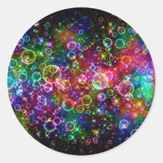 Färgrikt bubbla designen runt klistermärke