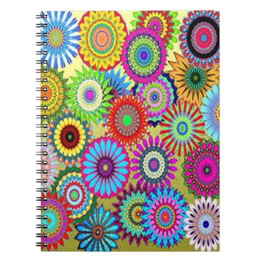 Färgrikt cirkla blommor anteckningsbok med spiral