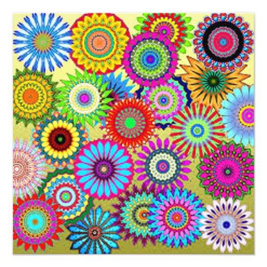 Färgrikt cirkla blommor fototryck