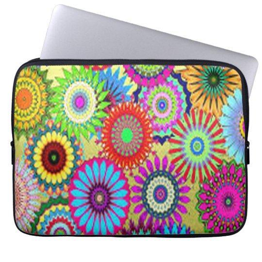 Färgrikt cirkla blommor laptop sleeve