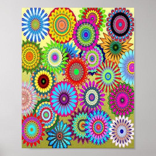 Färgrikt cirkla blommor poster