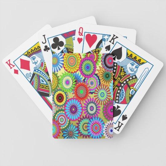 Färgrikt cirkla blommor spelkort