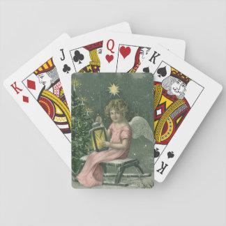 Färgrikt däck för ängel för vintageblåttjul spelkort