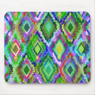 Färgrikt Ikat stam- geometriskt mönster 2 Musmatta