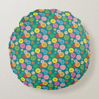 Färgrikt knäppas mönster rund kudde