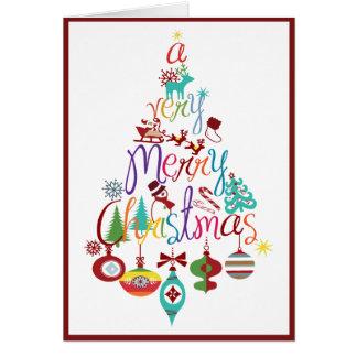 Färgrikt kort för hälsning för julhelgdagträd