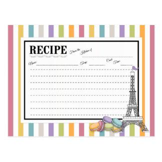 Färgrikt kort för Paris Macaron Eiffel tornrecept