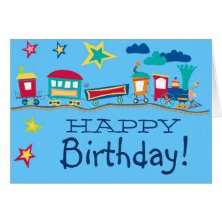 Färgrikt kort för tecknadtåggrattis på födelsedage