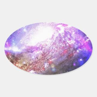 Färgrikt kosmos ovalt klistermärke