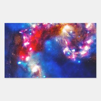 Färgrikt kosmos rektangulärt klistermärke