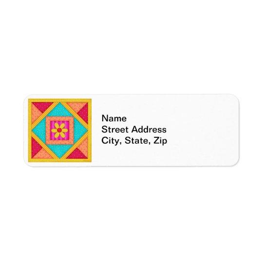Färgrikt kvarter för Patchworktäckekonst Returadress Etikett