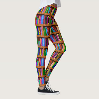 Färgrikt läs- mönster för bokbibliotekbokhylla | leggings
